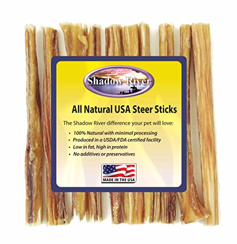 Shadow River 10 Pack 6 Inch Thin All Natural Steer Sticks for Dogs For Sale