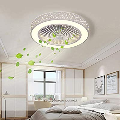 Ceiling Fans with Lights and Remote Control with 3 Acrylic Blades Invisible Ceiling Fans for Living Room, Bedroom, Living Room