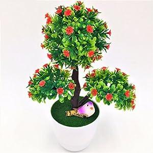 decorative flowers & wreath Artificial bonsai Set fake plant pine with vase 8