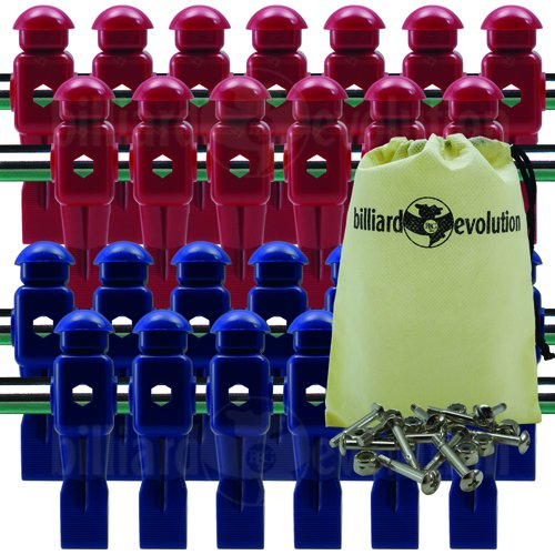 Billiard Evolution 26 Red and Blue Dynamo Foosball Men with Free Screws & Nuts Drawstring Bag by Billiard Evolution