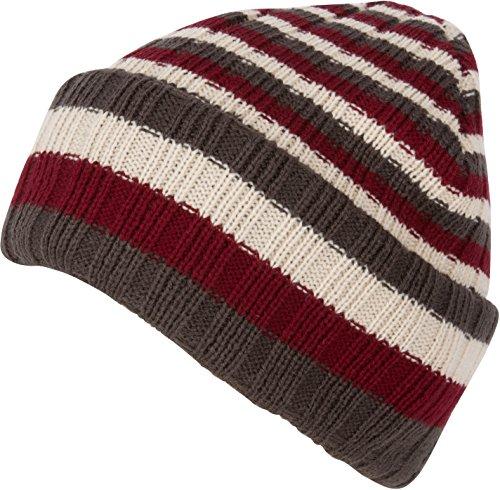 Sakkas CADK1520 - Nixon Unisex Ribbed Stripe Beanie Cap - 1-Burgundy - OS