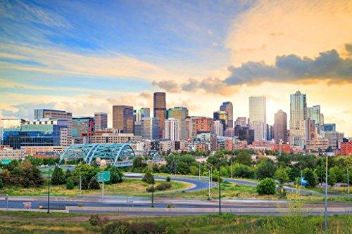 Panorama of Denver Colorado Skyline at Twilight Photo Art Print Poster 36x24 inch