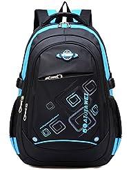 Ellien School Backpack for Boys, Waterproof Bookbags for Kids Student Children by (Blue)