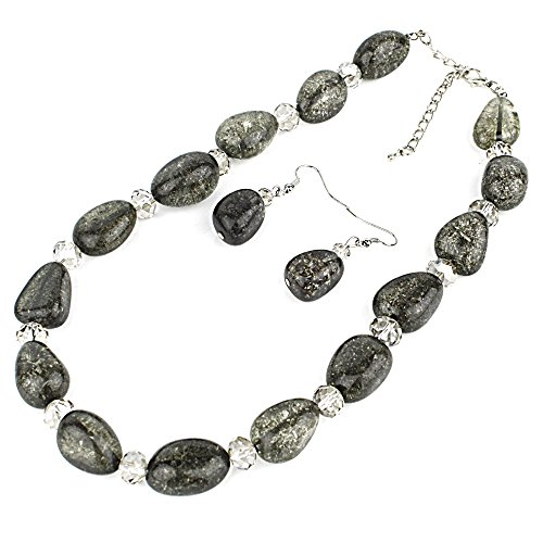 Chunky Glass Beads Statement Necklace with Matching Earrings Set - Black Chunky Glasses
