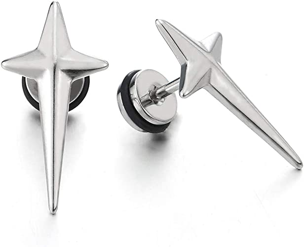 Stainless Steel Punk Spike Cone Stud Earring Gift Mens Boys Women Fake Taper