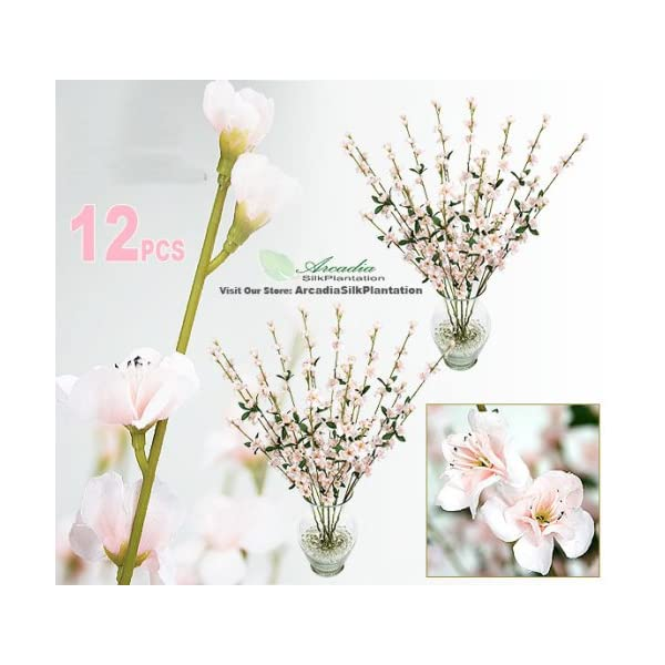 12 pieces of 27″ Cherry Blossom Artificial Silk Flower Sprays Pink