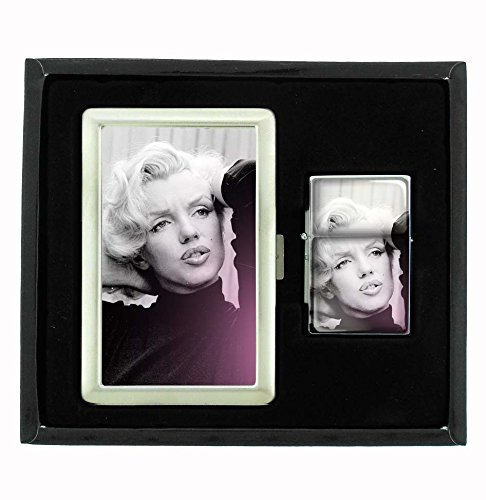 Marilyn Monroe Black Sweater Classic Sexy Cigarette Case and Flip Top Oil Lighter Set