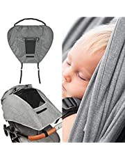 Buggy Sun Shade Universal Pram Sunshade Sun Cover for Strollers Pushchairs UV Protection Water Resistant Easy to Install (Grey)