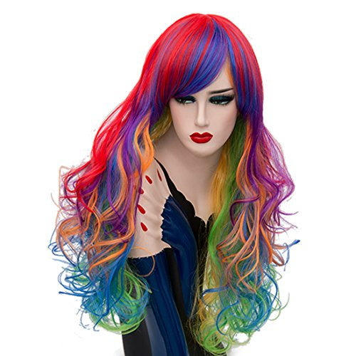 Alacos Fashion Long Curly Rainbow Colorful Side Parting Bangs Synthetic Heat Resistant Costumes Anime Cosplay Wigs for Women + Wig Cap (Ombre Bright Colorful)