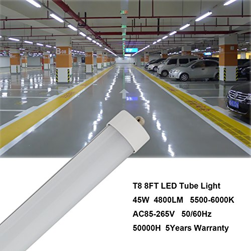 CNSUNWAY LIGHTING 8ft LED Tube, 96'' 45Watt T8 FA8 Single Pin LED Bulbs With Frosted Cover, 4800LM Super Bright 6000K Cool White (25 Pieces) by CNSUNWAY LIGHTING (Image #5)