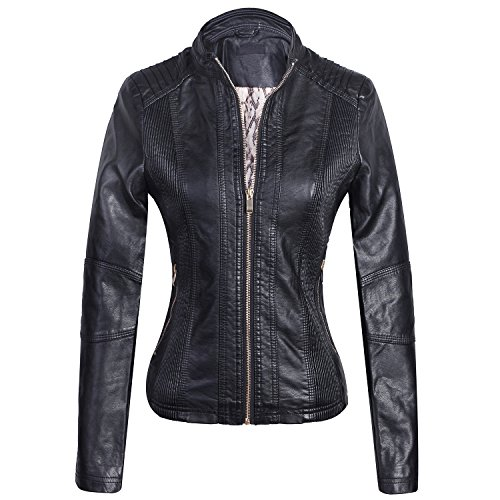 (Marte&Joven Women's Slim Short Motorcycle Biker Faux Leather Jacket Autumn Winter PU Coat Black)