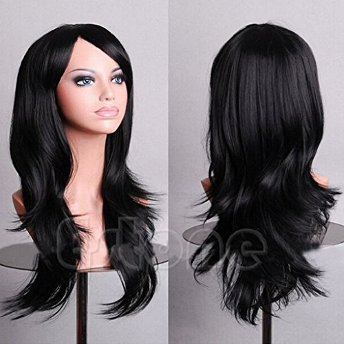 SCASTOE Womens Long Hair Wig Cosplay Party Synthetic Anime Curly Wavy Full Wigs