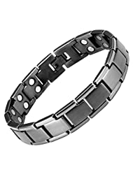 Willis Judd New Mens Titanium Gunmetal Extra Strong Power/Strength Double Row 3000g Magnetic Bracelet With In Black Velvet Gift Box Free Link Removal Tool