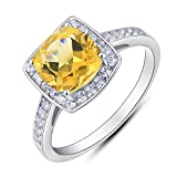 BL Jewelry Vintage Style Sterling Silver Cushion Cut Genuine Gemstone Halo Ring (2 CT.T.W) (8, citrine)