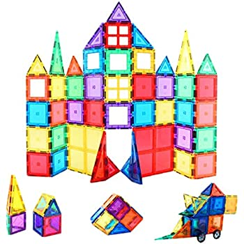 Children Hub 60pcs Magnetic Tiles Set - Premium Quality Educational Toys For Your Kids - Upgraded Version