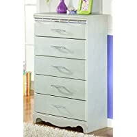 Ashley Furniture Signature Design - Zarollina Chest of Drawers - 5 Drawers - Kids Room - Bedazzled Drawer Handles - Silver