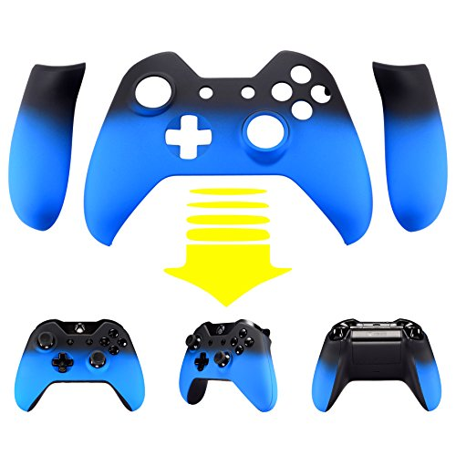 (eXtremeRate Lake Blue Shadow Soft Touch Top Shell Front Housing Faceplate Replacement Parts with Side Rails Panel for Xbox One Controller W/3.5 mm)