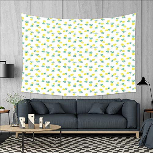 smallbeefly Hawaii Tapestry Wall Tapestry Doodle Style Pineapple Hand Drawn Exotic Fruits Pattern Stripes and Dots Art Wall Decor 60''x51'' Yellow and Sea Green by smallbeefly