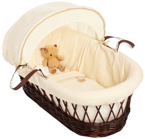 Izziwotnot Gift Cream on Dark Wicker Moses Basket by Izziwotnot