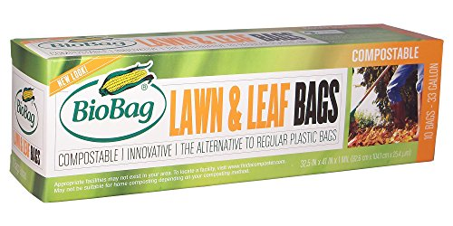 BioBag Lawn & Leaf Waste Bags, 33 Gallon, 10 Count (Pack of 2)