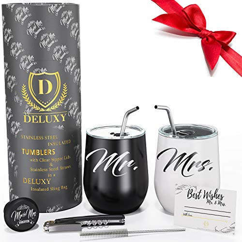Mr and Mrs Wine Tumblers |Couple Drink Cups for Hot, Cold Coffee, Tea | Best Wedding, Engagement, Anniversary, Bridal Shower Gifts