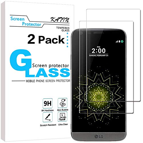 KATIN LG G5 Screen Protector - [2-Pack] LG G5 Tempered Glass Screen Protector Bubble free, 9H Hardness with Lifetime Replacement Warranty
