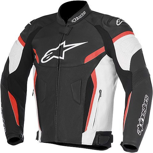 (Alpinestars GP Plus R V2 Airflow Leather Motorcycle Riding Jacket Black/White/Red Mens Size 56)
