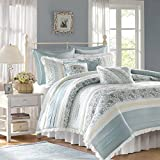 Madison Park Stylish Premium Quality Elegant Dawn 9 Piece Blue/Beige King Size Comforter Set 1 Comforter, 2 Shams, 1 Bedskirt, 2 Euro Shams, 3 Pillows