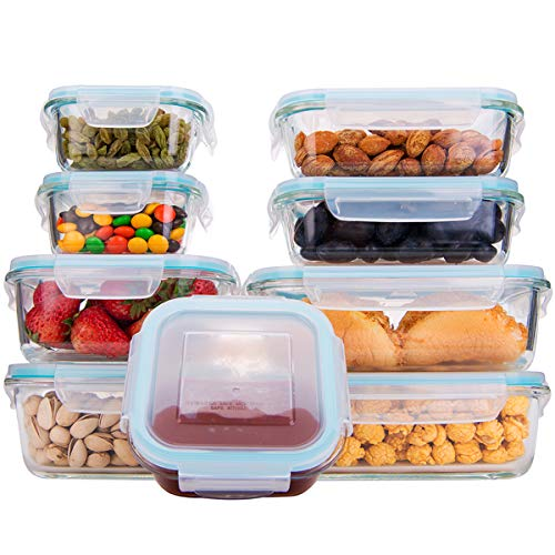 18 Piece Glass Food Storage Containers with Lids, Glass Meal Prep Containers, Glass Containers for Food Storage with Lids, BPA Free & FDA Approved & Leak Proof (9 lids & 9 Containers) (Glass Storage Containers Bpa Free)