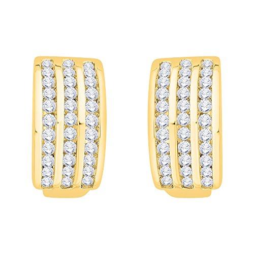 KATARINA Channel Set Diamond Huggie Earrings in 14K Yellow Gold (1 cttw, G-H, I2-I3)