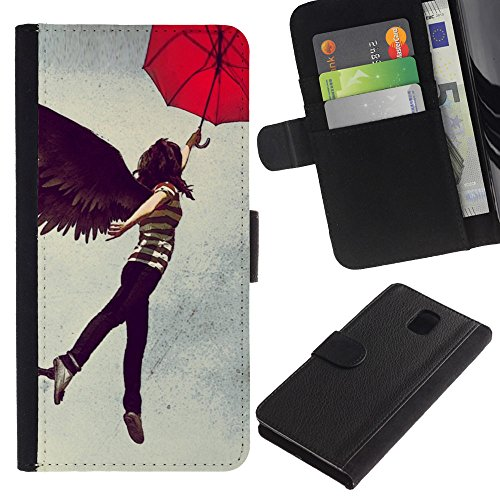 [Neutron-Star] Colorful Pattern Flip Wallet Leather Holster Holster Protective Skin Case Cover For Samsung Galaxy Note 3 III [Girl Angel Wings Dark Black Umbrella Woman Art] (Htc Wing Solid Case)