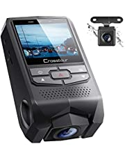 Crosstour Both 1080P FHD Front and Rear Dual Lens Dash Cam in Car Camera Recorder External GPS HDR Both 170°Wide Angle Motion Detection G-sensor Loop Recording(CR900)