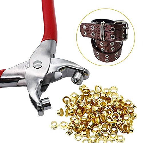 JunLai 100 Pcs 4mm Titanium Eyelets with Washer Leather Tool Craft Repair Grommet Punch Die Tool Tools Kit Wholesale ()