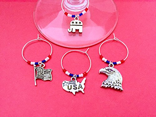 Republican wine charms gift, Perfect for the Conservative in your life. Includes Political Elephant, Bald Eagle, American Flag, and USA map. Set of 4. RED WHITE and BLUE (Political Elephant)