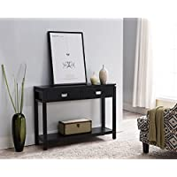 Kings Brand Black Finish Wood Occasional Entryway Console Sofa Table With Storage Shelf / 2 Drawers