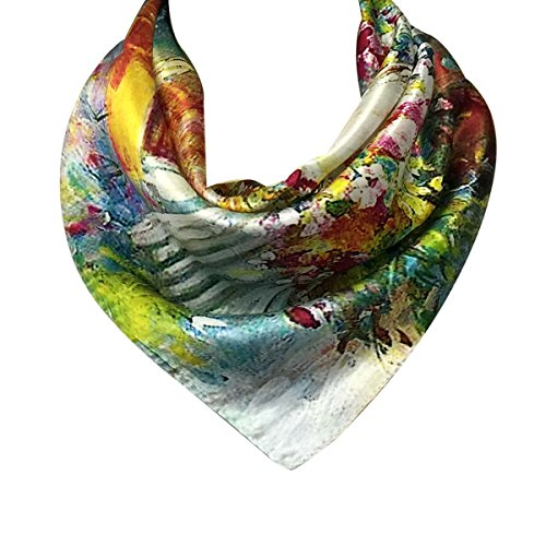 - Wrapables 100% Charmeuse Silk Square Scarf Neckerchief, Floral Garden