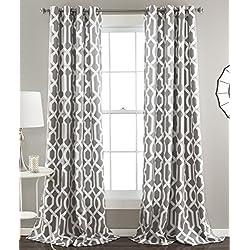 Lush Decor Edward Trellis Room Darkening Window Curtain Panel Pair, 84 inch x 52 inch, Gray, Set of 2
