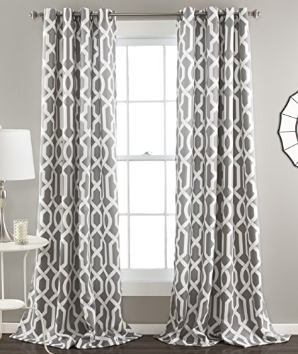 "Lush Decor Edward Trellis Curtains Room Darkening Gray Window Panel Set for Living, Dining, Bedroom (Pair), 84"" x 52"","