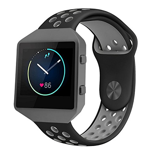 For Fitbit Blaze Band Accessory, VODKE Silicone Breathable Replacement Band/Strap with New Frame for Fitbit Blaze Men Women Small(BLACK+GRAY+BLACK - Frames New