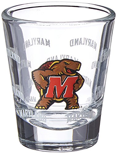 NCAA Maryland Terrapins Satin Etch Shot Glass, 2-ounce, 4-Pack -