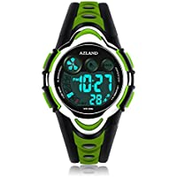 AZLAND Waterproof Swimming Led Digital Sports Watches for Children Kids Girls Boys,Rubber Strap,Green