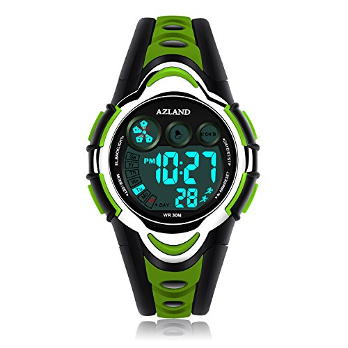 Green Boys Strap - AZLAND Waterproof Swimming Led Digital Sports Watches for Children Kids Girls Boys,Rubber Strap,Green