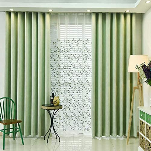 MacoHome Green Linen Room Divider Cotton Textured Bedroom Partition Green, 100 W x 102 L