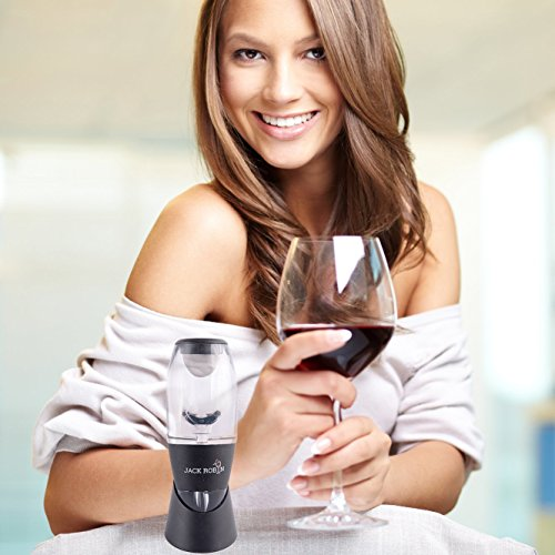 Jack Robin Red Wine Aerator Glass Decanter Pourer - Instantly Improve Any Wine - Premium Wine Gift Set - Brilliant Gift For Wine Lovers - With Free Wine Stopper As A Bonus - For Better Tasting Wine