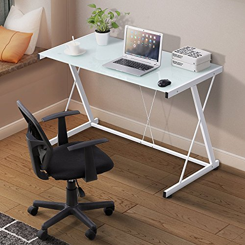 Mecor Glass White Computer Desk, Z Shaped Metal Frame Corner Laptop PC Table Workstation Home Office