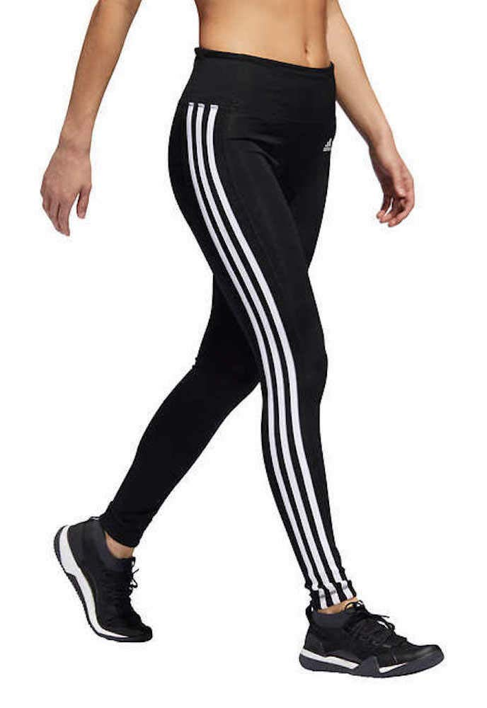 adidas Womens 3 Stripe Active Tights (M, Black/White) by adidas
