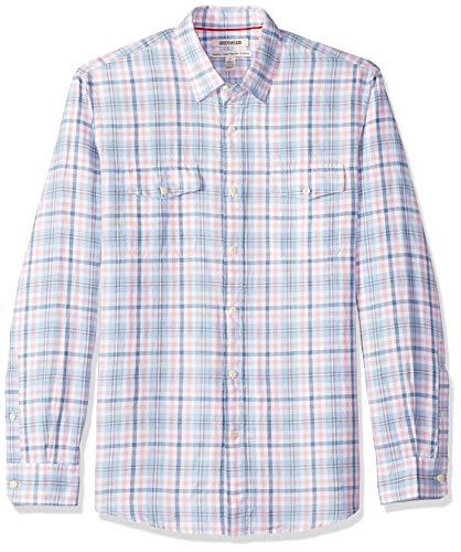 - Goodthreads Men's Standard-Fit Long-Sleeve Linen and Cotton Blend Shirt, Blue/Pink Plaid, Large