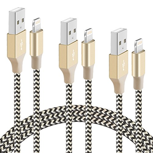 BUDGET & GOOD iPhone Charging Cables 6.5ft Nylon Braided Lightning to USB Cable for iPhone 7 7 Plus 6s 6s Plus 6 6 plus 5c 5s 5 iPad Air iPad mini iPod ( Black and Gold) - 3 Pack