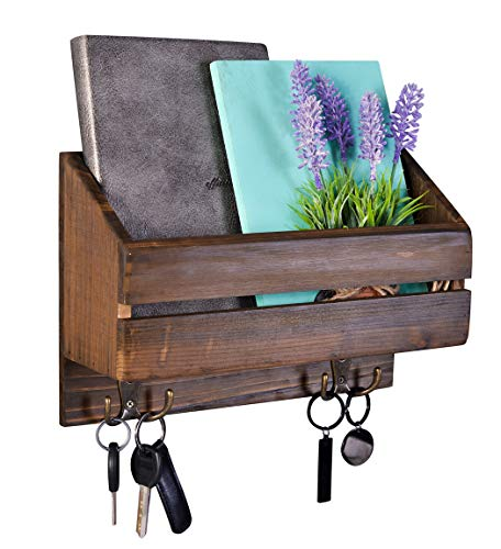 Large Rustic Wall Mount Mail Organizer Wooden Wall Decor Entry Coat Rack Letters Keys Magazines Hanger with Solid Wood Shelf and 2 Double Key Hooks