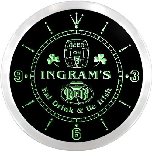 ncpa1371-g INGRAM'S Irish Shamrock Pub Beer Pub LED Neon Sign Wall (Ingram Clock)
